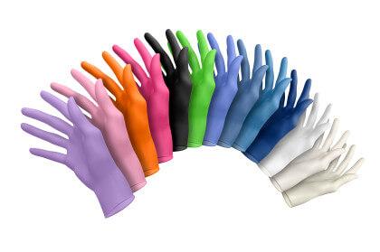 kolorowe rękawiczki lateksowe